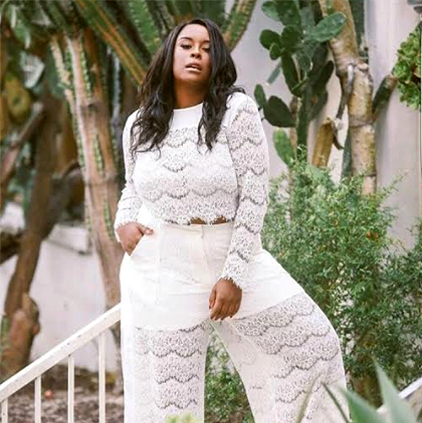 Sommer @sommerboogie wearing Standards & Practices ivory lace top and palazzo pants.